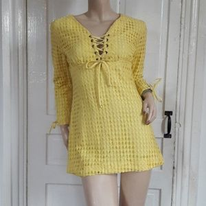 Vintage 60s/70a Yellow Eyelet Tunic Mini Dress